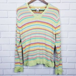Talbots Colorful Striped V-Neck Pullover Sweater